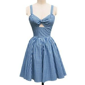 Trashy Diva Diva Hottie Blue Gingham keyhole dress
